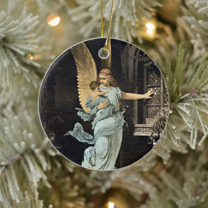 Vintage Style Home Decor Collectible Ornament - Guardian Angel in the Night