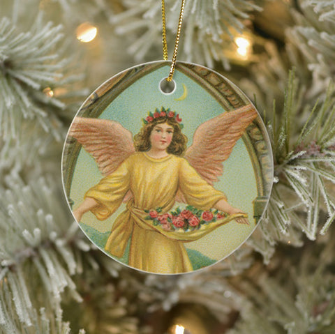 Vintage Style Home Decor Holiday Tree Ornament - Angel Scattering Roses