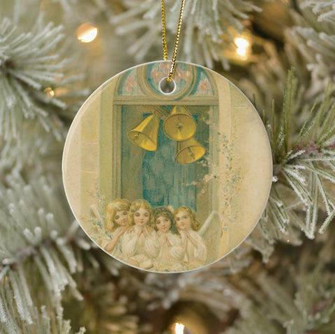 Vintage Style Home Decor Holiday Tree Ornament - Angels Praying Under Bells