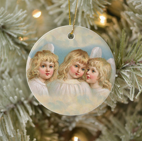 Vintage Style Home Decor Holiday Tree Ornament Three Blonde Angels Victorian Organics