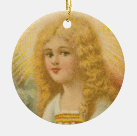 Vintage Style Home Decor Keepsake Ornament - Angel with Gold Halo