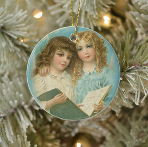Vintage Style Home Decor Keepsake Ornament - Angels with Book