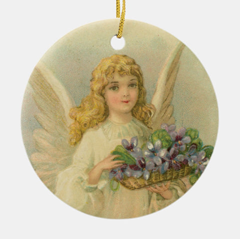 Vintage Style Home Decor Ornament - Angel With Purple Flower Basket