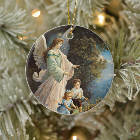 Vintage Style Keepsake Art Ornament - Guardian Angel With Children