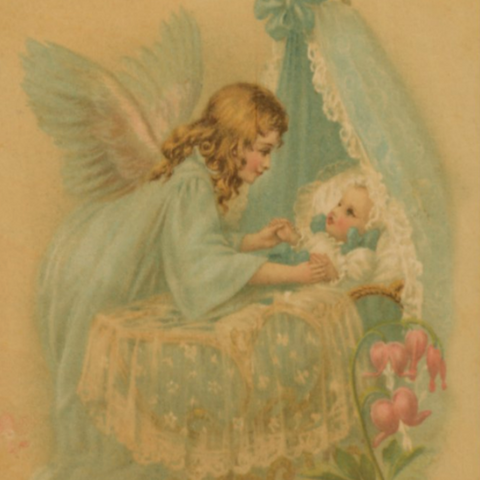 Victorian Organics Angel Over Bassinet Wood Wall Art Home Decor