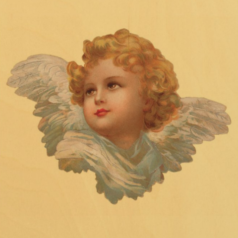 Victorian Organics Golden Haired Cherub Wood Wall Art Home Decor