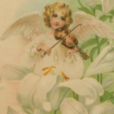 Victorian Organics Angel Playing Violin Wood Wall Art Home Decor