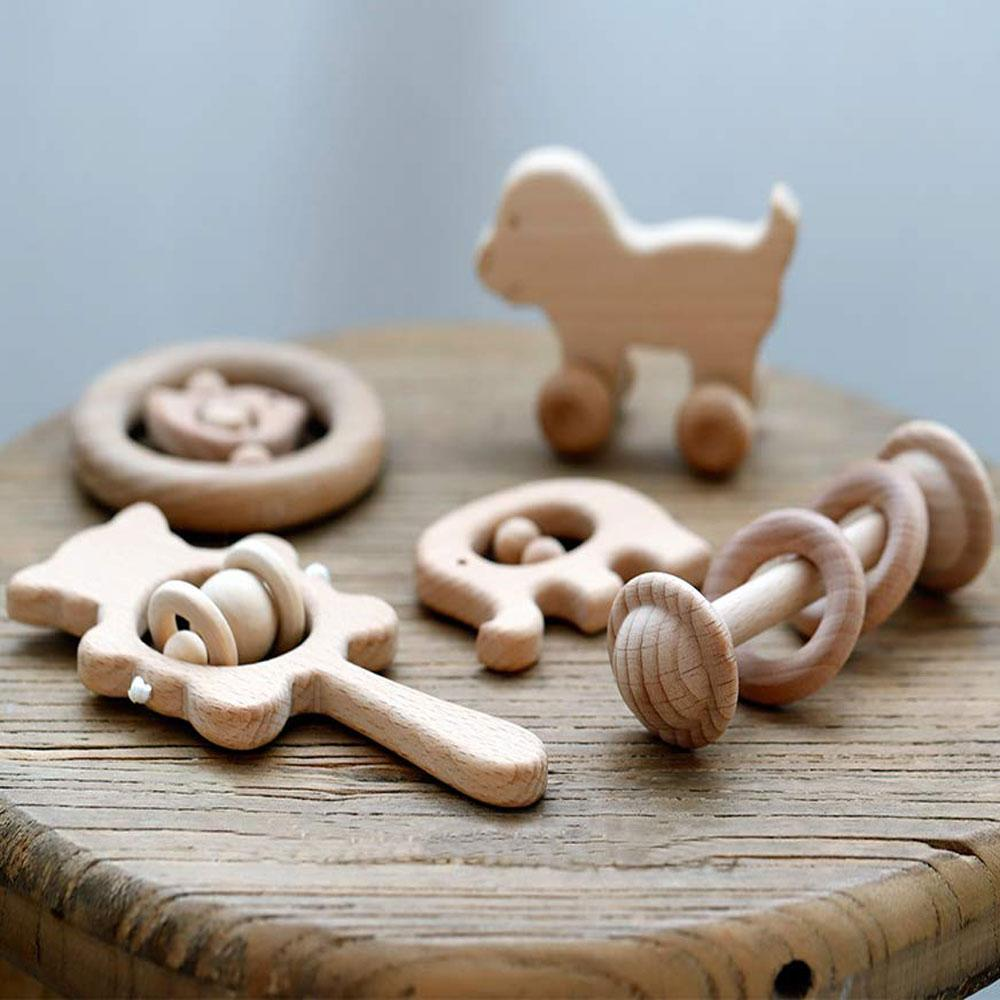 Promise Babe Natural Wooden Teether Rattles Gym Intellectual Puzzle Toys 5pc Set Montessori Toys