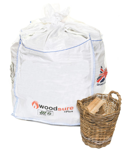 Sack of woodsure logs and basket of firewood