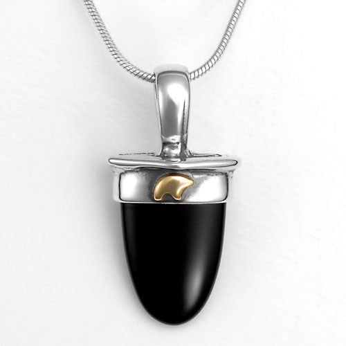 Sterling silver gold black onyx bear pendant