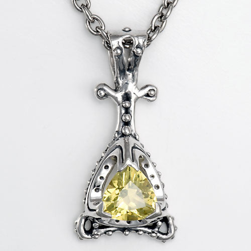 Handcrafted unique sterling silver citrine pendant