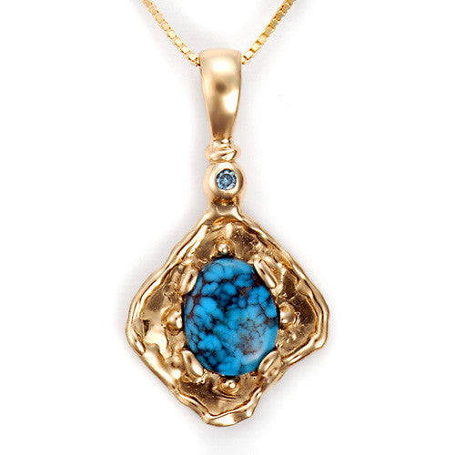 14kt yellow gold turquoise diamond pendant
