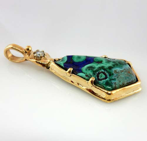 Azurmalachite Diamond 14kt Gold One-of-a-Kind Pendant