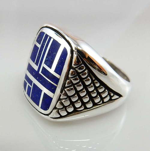 sterling silver lapis inlay men's ring
