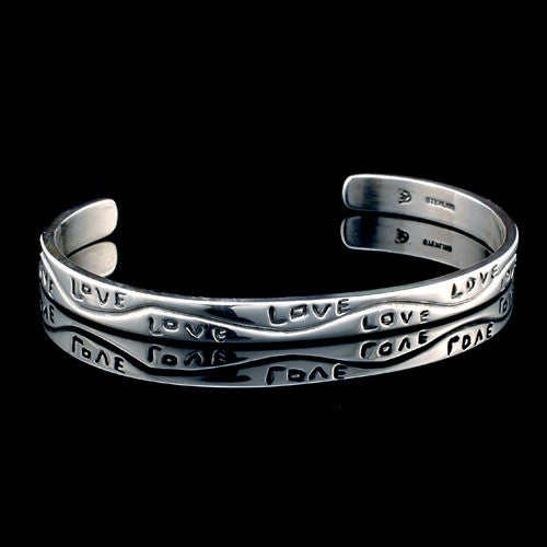 Handcrafted sterling silver love cuff bracelet