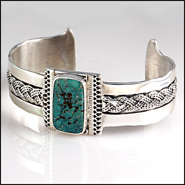 Handcrafted sterling silver turquoise cuff bracelet