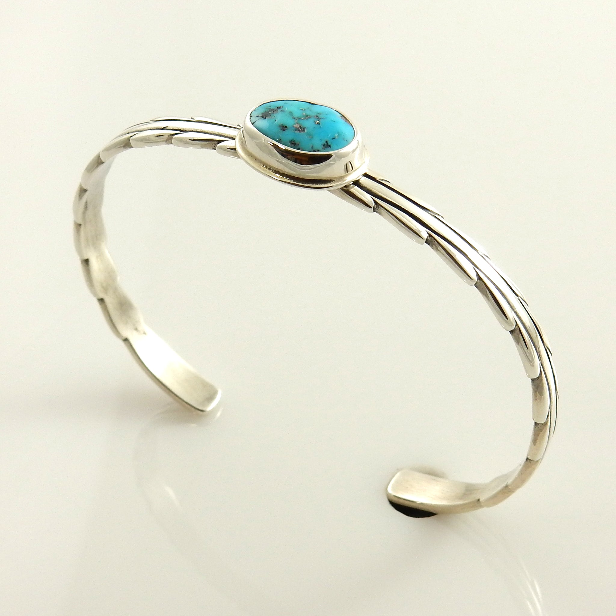 Natural Blue Sleeping Beauty Turquoise Sterling Silver Small Cuff Bracelet