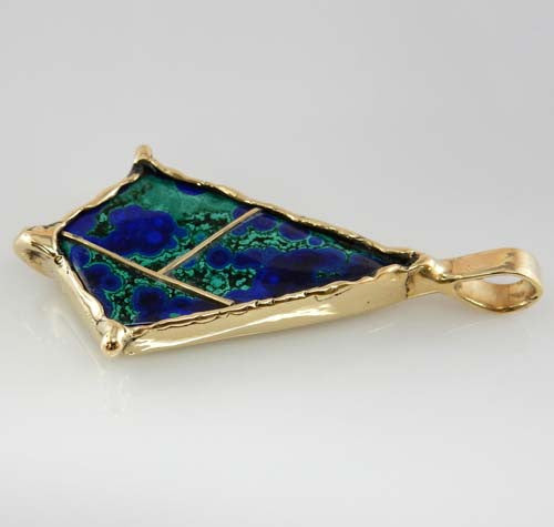 Unique Azurmalachite 14kt Yellow Gold Pendant