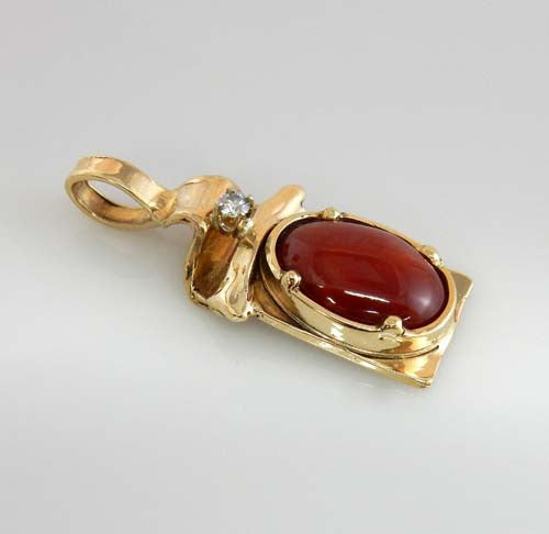14kt gold coral diamond pendant