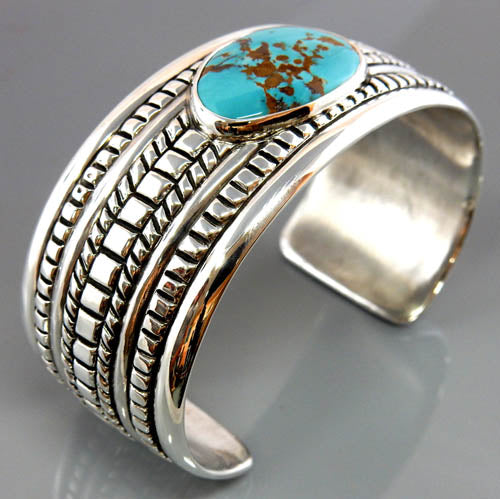 Natural Blue Spiderweb Turquoise Sterling Silver Modern Cuff Bracelet