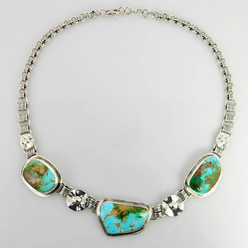 Handmade Adjustable Sterling Silver Carico Lake Turquoise Necklace