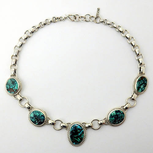 Handmade Adjustable Sterling Silver Tibetan Turquoise Necklace
