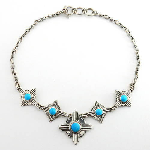 Handcrafted Adjustable Sterling Silver Zia Turquoise Necklace