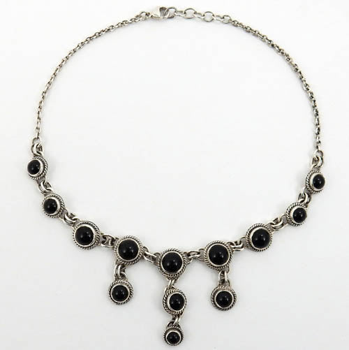 Handmade Adjustable Sterling Silver Black Onyx Necklace