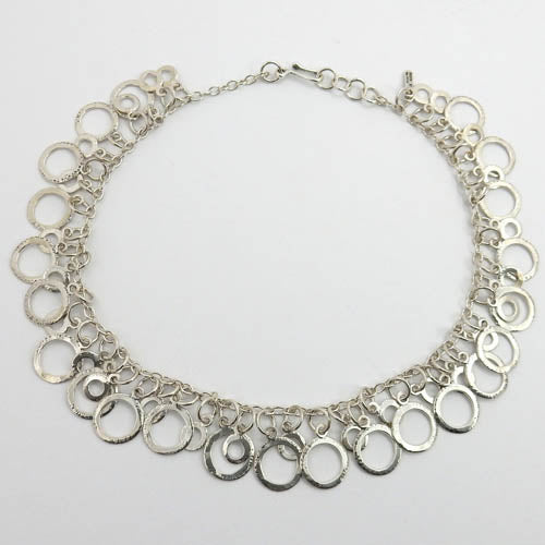 Handmade Adjustable Sterling Silver Textured Hoop Necklace