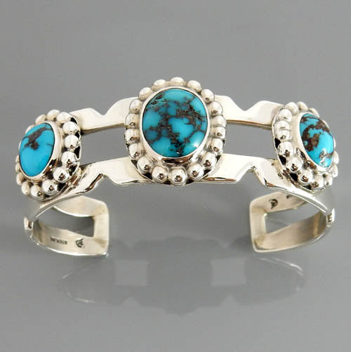 Natural Blue Spiderweb Persian Turquoise Sterling Silver Cuff Bracelet