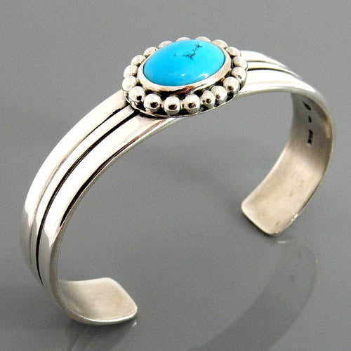 Natural Blue Sleeping Beauty Turquoise Sterling Silver Cuff Bracelet