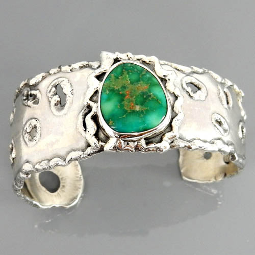 Natural Green-Blue Turquoise Sterling Silver Cuff Bracelet