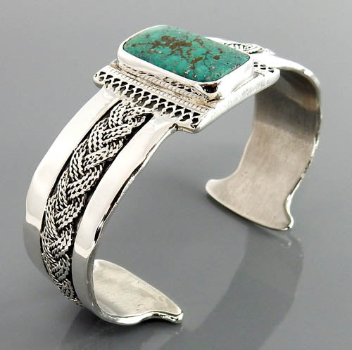 Natural Turquoise Sterling Silver Cuff Bracelet