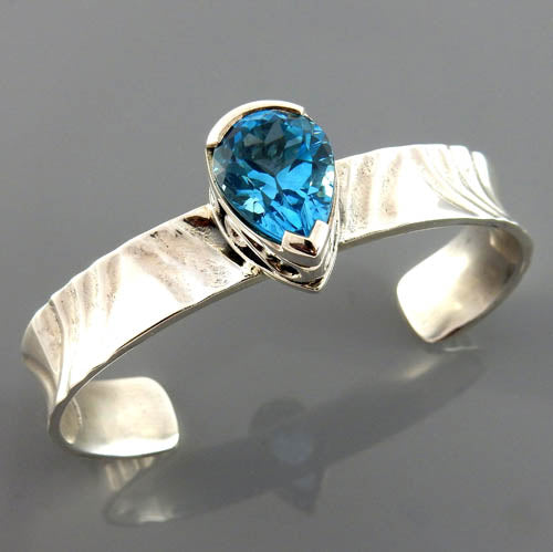 Natural Blue Topaz Sterling Silver Handcrafted Cuff Bracelet