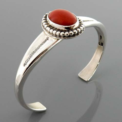 Natural Italian Red Coral Sterling Silver Cuff Bracelet