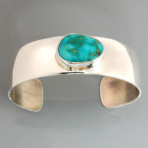 Natural Blue Royston Turquoise Sterling Silver Cuff Bracelet