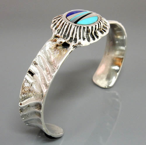 Handcrafted Sterling Silver Multi Stone Inlay Cuff Bracelet