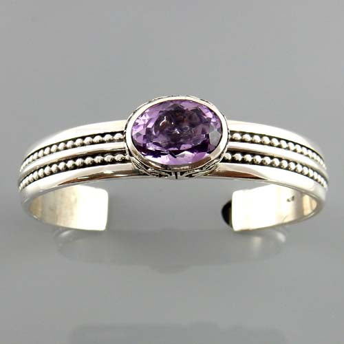Handcrafted Sterling Silver Amethyst Cuff Bracelet