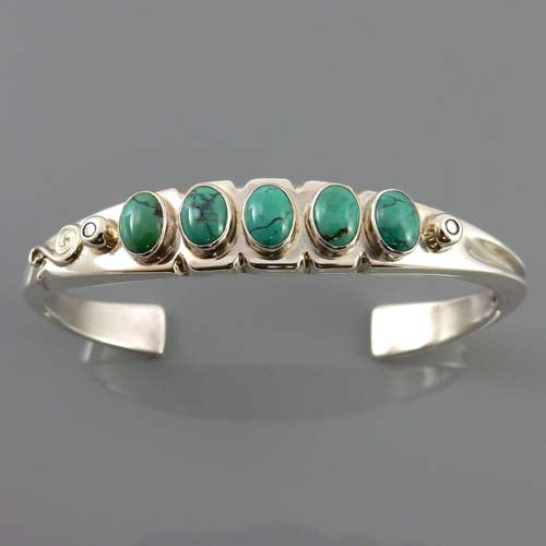Natural Tibetan Turquoise Sterling Silver Cuff Bracelet