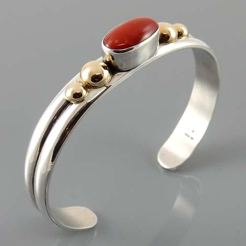 Natural Red Coral Two Toned Cuff Bracelet