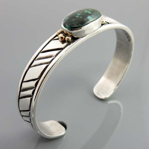 Natural Turquoise Two Toned Cuff Bracelet