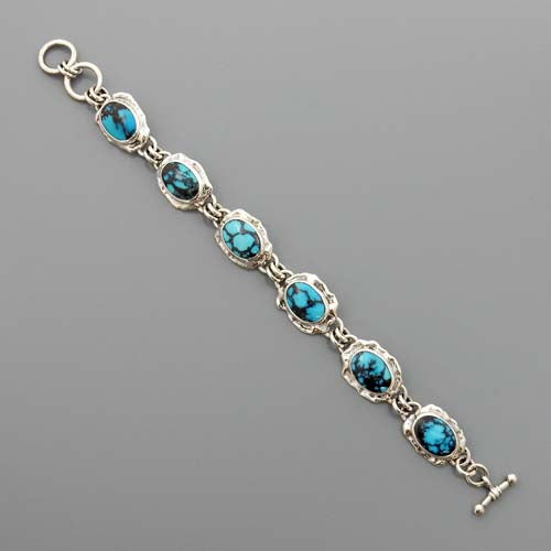 Handmade Adjustable Sterling Silver Blue Turquoise Link Bracelet