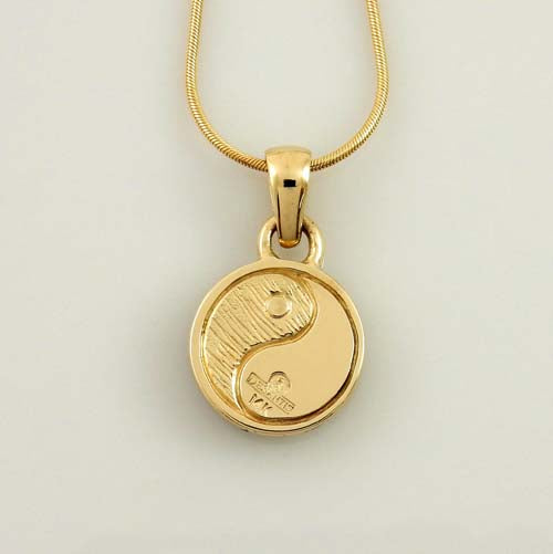14kt Yellow Gold Turquoise Lapis Inlay Yin Yang Pendant