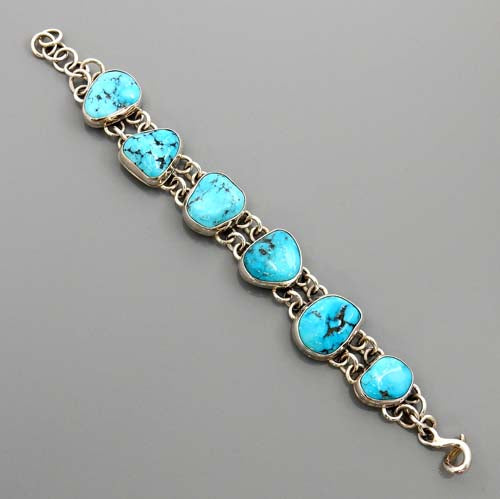 Adjustable Handmade Sterling Silver Genuine Turquoise Link Bracelet