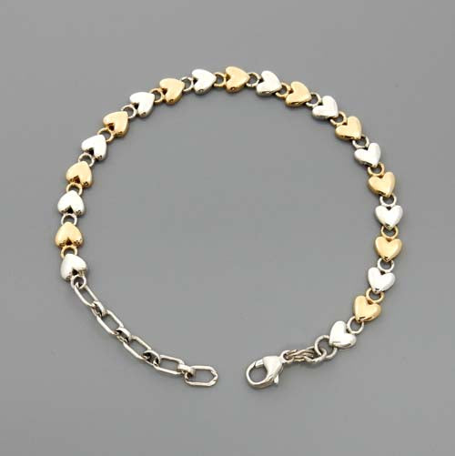 Handcrafted Adjustable Sterling Silver and 14kt Gold Heart Link Bracelet