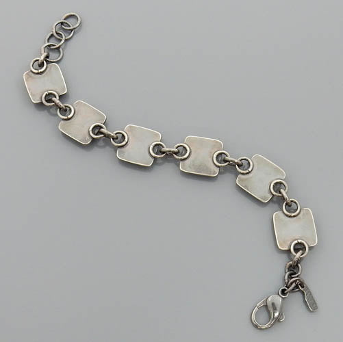 Adjustable Oxidized Sterling Silver Square Bubble Link Bracelet