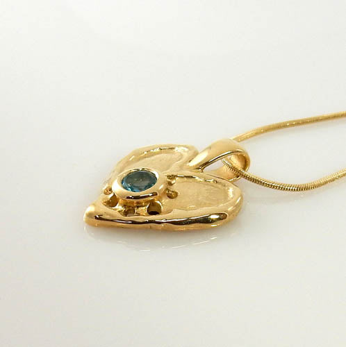 14kt Yellow Gold Blue Topaz Heart Pendant