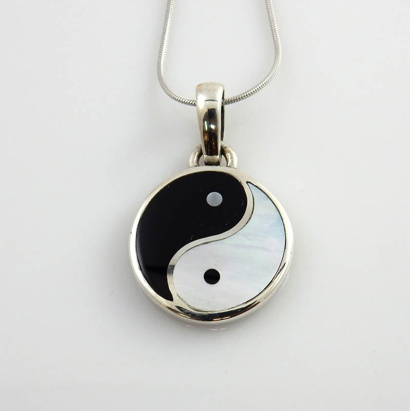 Black Onyx Mother of Pearl Silver Yin-Yang Pendant