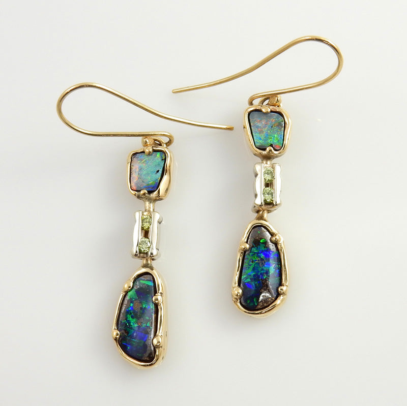 14kt Gold Opal Diamond Dangle Earrings