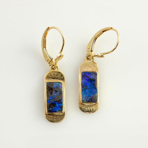 Natural Boulder Opal 14kt Yellow Gold Drop Earrings